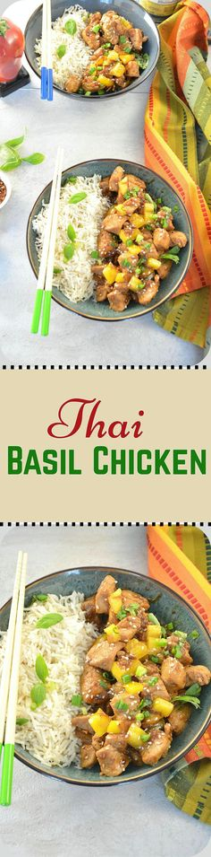 Thai Basil Chicken - Try this yummy Thai chicken infused with aromatic Thai basil and serve it hot with perfectly steamed rice. All in all a delicious mid-week-quick-fix dinner.