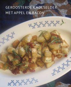 Geroosterde knolselder met appel en bacon