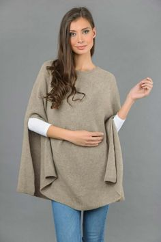 Pure Cashmere Plain Knitted Poncho Cape in Camel Brown front 1 Cashmere Poncho, Knitted Poncho, Cashmere Wool, Slouchy Beanie, One Size Fits All, Camel, Bell Sleeve Top, Tunic Tops, Classy