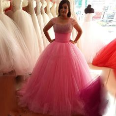 Ulass Velvet Long Beautiful Puffy Tulle Ball Gown Prom Dresses 2016 with Crystal