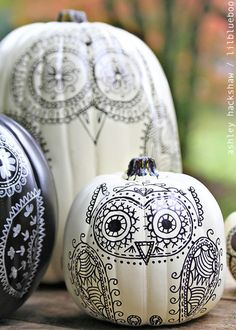DIY owl pumpkins from MichaelsMakers Lil Blue Boo
