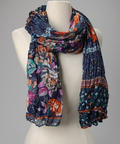 Take a look at this Blue & Orange Floral Scarf by Nino Puccioni on #zulily today!