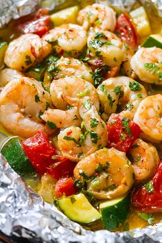 Lemon Garlic Herb Shrimp in Foil Packets -  A healthy, nourishing dinner with hearty flavors.