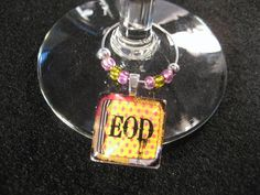 EOD Wine Glass Charm  pink and yellow by CreationsbyGena on Etsy, $3.00
