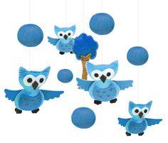 Baby Mobile Felt Blue   Nursery Owl Mobile  Baby Crib by ByYolanda, €40.00