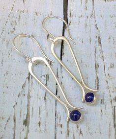 Labor Day Sale Silver Lapis dangle hoops - Lapis blue earrings, delicate silver earrings