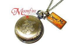 ALICE IN WONDERLAND White Rabbit Pocket Watch Necklace