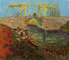 Vincent van Gogh   The Langlois Bridge at Arles, 1888   - by technique - watercolor