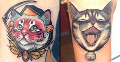 Cat-obsessed tattoo artist Young Woong Han brings dozens of cats to life in his vivid neo traditional style.