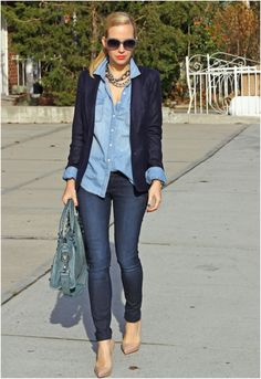 Denim on denim in different tones works perfectly for intro to Fall