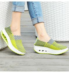 Women's #green slip on #rocker sole shoe check pattern, Weave fabric upper and leather lining.
