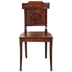 English Regency Mahogany Hall Chair | From a unique collection of antique and modern side chairs at https://www.1stdibs.com/furniture/seating/side-chairs/
