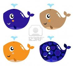 Illustration of Four stylized patterned whale collection. Vector vector art, clipart and stock vectors. Royalty Free Music, Endangered Species, Adobe Illustrator, Vector Art, Whale, Clip Art, Kids Rugs, Cartoon, Abstract
