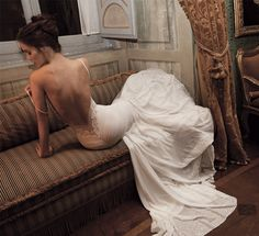 STATEMENT GOWNS Backless Wedding Dresses Few things can make as dramatic a statement as backless wedding dresses. Coupled with the perfect wedding hairstyle a backless wedding gown is a drop dead detail that is sure to have all eyes focused on you as Backless Wedding, Sexy Wedding Dresses, Wedding Gowns, Backless Dresses, Lace Wedding, Mermaid Wedding, Wedding Bride, Wedding Boudoir, Bride Gowns