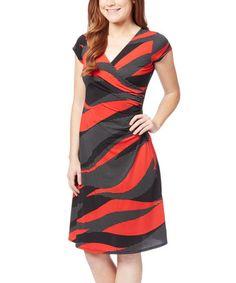 Red & Black Abstract Surplice Dress - Plus Too #zulily #zulilyfinds