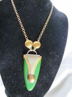 Art Deco Modernist Jakob Bengel Green Bakelite Chrome Pendant & Brass Chain