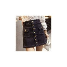 Buttoned A-Line Denim Skirt (180 HKD) ❤ liked on Polyvore featuring skirts, women, a line button skirt, button skirt, blue denim skirt, sugar town and a-line skirt