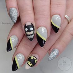 """Outstanding """"acrylic nail art designs rhinestones"""" information is offered on our site. Check it out and you wont be sorry you did. Batman Nail Designs, Batman Nail Art, Superhero Nails, Nail Art Designs, Superman Nails, Nail Art Stripes, Striped Nails, Gorgeous Nails, Pretty Nails"""