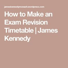 how to make exam study timetable
