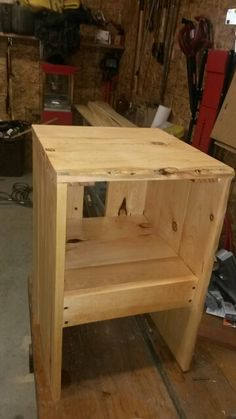 Small wooden unfinished night stand