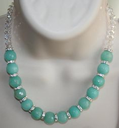 Large Chunky Blue Jade Statement Necklace, Rhinestone Rondelle Beaded Jewelry, Sparkling AB Crystal Necklace, Big Natural Gemstone Jewelry by 123gemstones, $50.00 USD