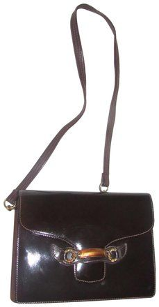2b053a00b09 Vintage Purses/Designer Purses Brown Patent Leather with Gold Enamel ...