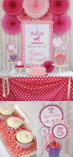 Pink and Purple Carousel themed birthday party FULL of cute ideas! Via Karas Party Ideas KarasPartyIdeas.com