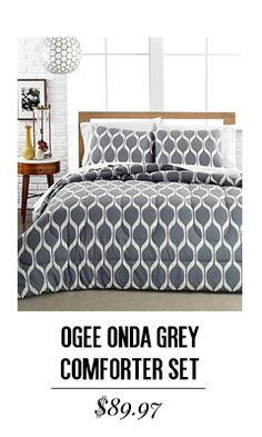 Ogee Onda Gray 3 Piece Comforter and Duvet Cover Sets