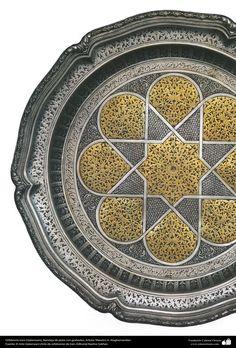 Orfebrería iraní (Qalamzani), Bandeja de plata con grabados -38   Galería de Arte Islámico y Fotografía