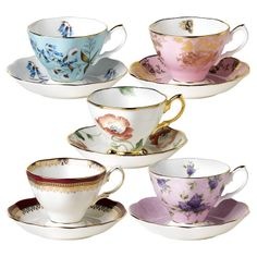 Royal Albert 100 Years 10 Piece Teacups and Saucers Set 1950- 1990