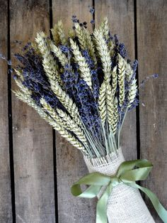 Country Bridal Bouquet With Lavender And Wheat - Weddings - Lavender Bouquet