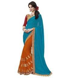 Buy Anjali Blue Embroidered Chiffon saree With Blouse chiffon-saree online
