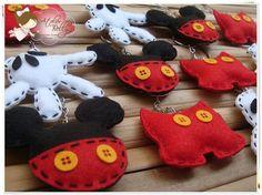 Chaveiros de pano do Mickey - lembrancinhas de diversos formatos