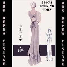 Vintage Sewing Pattern 1930's Evening or Wedding Gown in Any Size Depew 1124 - PLUS Size Included -INSTANT DOWNLOAD-