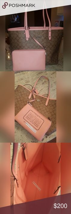 Coach Reversible Tote Blush Pink Spring Handbag 100% authentic Coach handbag This stunning light pink handbag is absolutely perfect for spring and fully reversible Retails for $398 Brand new with tags attached Includes detachable Coach wristlet Coach Bags Totes