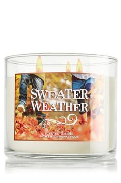 """Sweater Weather - 3-Wick Candle - Bath & Body Works - The Perfect 3-Wick Candle! Made using the highest concentration of fragrance oils, an exclusive blend of vegetable wax and wicks that won't burn out, our candles melt consistently & evenly, radiating enough fragrance to fill an entire room. Topped with a decorative lid that adds autumn d�cor to your home! Burns approximately 25 - 45 hours and measures 4"""" wide x 3 1/2"""" tall."""