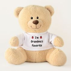 Grandma's Favorite Black Text with Two Lady Bugs Teddy Bear - typography gifts unique custom diy