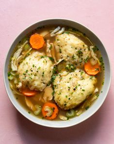 For the chicken soup 2 Tbs. olive oil 1 lb boneless skinless chicken breast or chicken thighs salt and pepper 1 onion, diced 3 carrots, diced 2 cups shredded cabbage 2 sticks celery chopped 6 cups chicken stock For the dumplings : 1 cups flour 2 tsp. Fall Recipes, Healthy Dinner Recipes, Vegetarian Recipes, Healthy Delicious Meals, Health Food Recipes, Winter Dinner Recipes, Healthy Side Dishes, Quick Recipes, Delicious Recipes