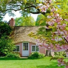 pink thatched cottage.