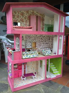 Casinha de boneca Poly pintada  casa muecas  Pinterest  Doll house plans Barbie doll house y Wooden dollhouse