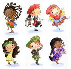 Cameroon, Greece, Sami, Hawaiian, Scottish, Indian    Children Around the World-1by ketari Traditional Art / Paintings / Other©2007-2014 ketari