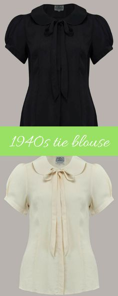 Beautiful crepe de chine 1940s blouse in cream or black made by The Seamstress of Bloomsbury #1940s #1940sweekend #1940soutfit #blouse #affiliate #WW2