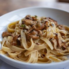 Produce On Parade - Wild Mushroom, Cream and White Wine Fettuccine - Nutty, meaty wild mushrooms mingle with sweet coconut cream and floral white wine in this wonderful fettuccine dish that's quick enough for a weeknight but fancy enough for company. Whole Foods Vegan, Whole Food Recipes, Vegan Recipes, Dinner Recipes, Wild Mushrooms, Stuffed Mushrooms, Stuffed Peppers, Coconut Lentil Soup, Veggie Loaf