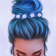 #BlueHairDontCare #SummerBun #Hair #FashionIllustrations @illumistica| Be Inspirational ❥|Mz. Manerz: Being well dressed is a beautiful form of confidence, happiness & politeness