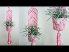 One of the easiest Macrame projects to get started with is a plant hanger. Decorate your house on a budget with 16 easy DIY Macrame plant hangers for beginners! Macrame Plant Hanger Patterns, Free Macrame Patterns, Macrame Plant Holder, Macrame Owl, Micro Macrame, Macrame Design, Macrame Projects, Decoration, Crafts