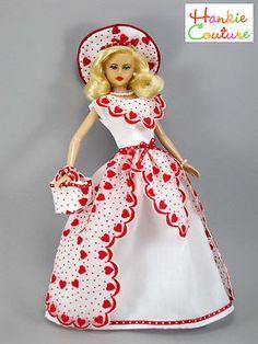 Valentines Doll Dress Fits Barbie RARE Nylon by Hankie Couture Vintage Hanky | eBay