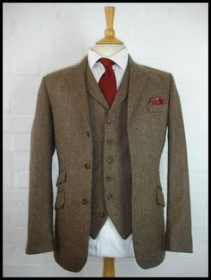 Tweed suits, 3 piece suits, tweed jackets, waistcoats, trousers and overcoats. Hand cut and tailored in England. Wedding suits a speciality 3 Piece Tweed Suit, Tweed Suits, Three Piece Suit, 3 Piece Suits, Dress Suits, Men Dress, Mens Sweat Suits, Brown Suits, Suit Vest