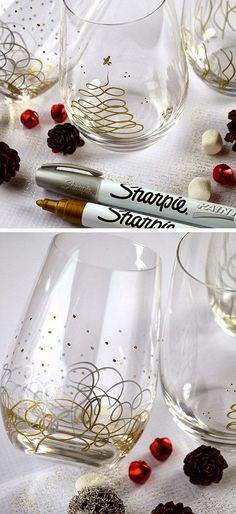 Sharpie Christmas Glasses   DIY Holiday Gift Ideas for Best Friend   DIY Christmas Gift Ideas for Women.