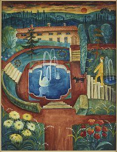 Mårten Andersson: Från Paltso Pitis trädgårdar Firense, 1958, akvarell med täckvitt på papper, 34x26 cm - Bukowskis Market 11/2016