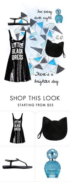 """Sans titre #55"" by emma-gaulmin ❤ liked on Polyvore featuring Moschino, Forever 21, GUESS, Marc Jacobs, quotes and LittleBlackDress"